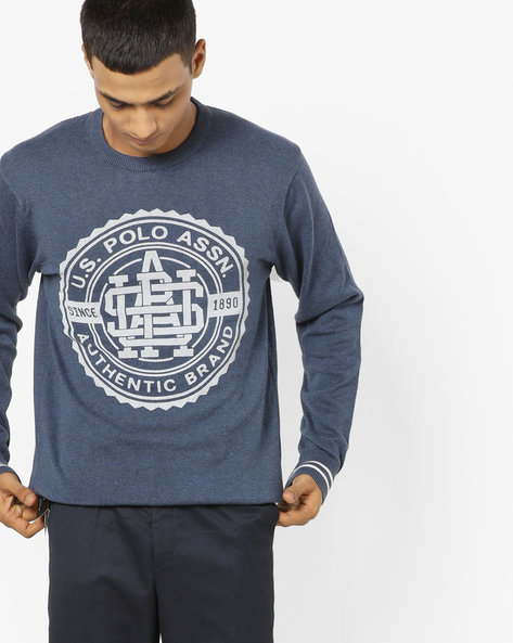 Printed Crew-Neck Pullover With Ribbed Hems By US POLO ( Dkblue )