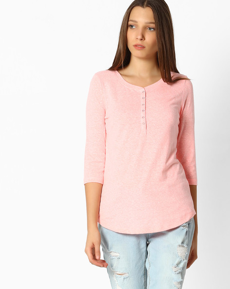 Top With Curved Hemline By Fame Forever ( Peach )