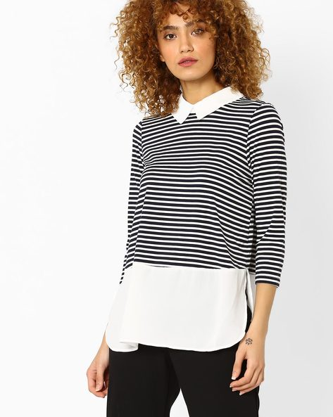 Striped Twofer Top By Vero Moda ( White )