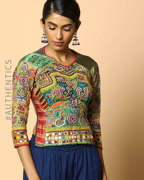 Kutch Embroidered Backless Blouse By Indie Picks ( Multi ) - 460103661001