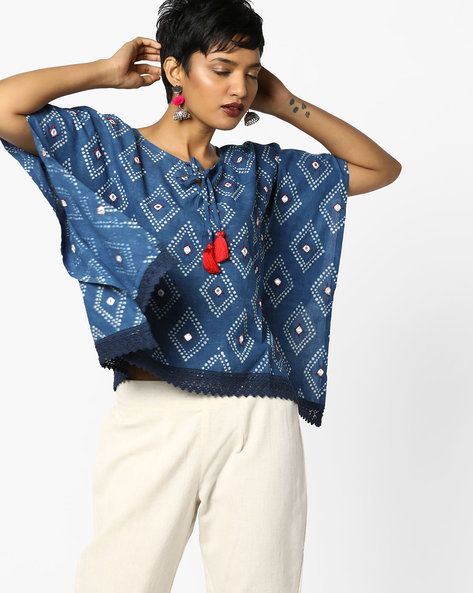 Printed Top With Tassel Tie-Up By PE IW Fusion ( Indigo )