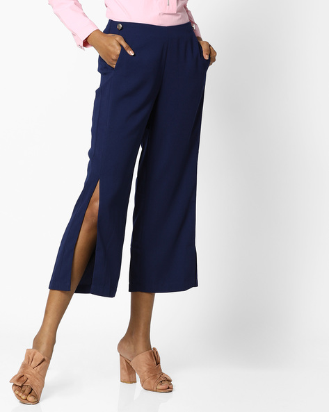 Mid-Rise Culottes With Side Slits By AJIO ( Navyblue )