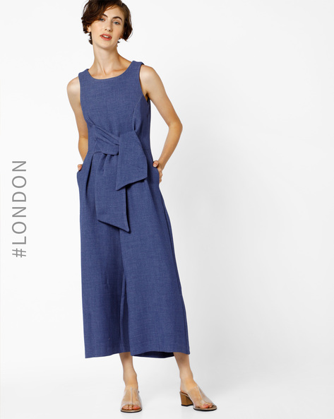 Sleeveless Tie-Front Jumpsuit By Closet London ( Navy )