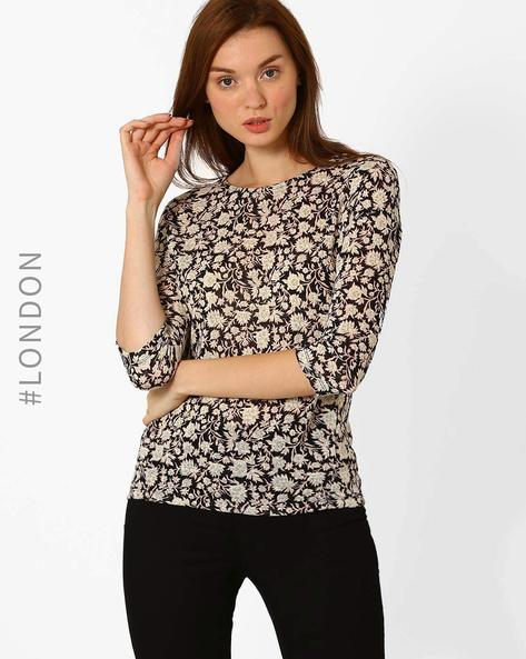 Floral Print T-shirt By Marks & Spencer ( Navyblue )