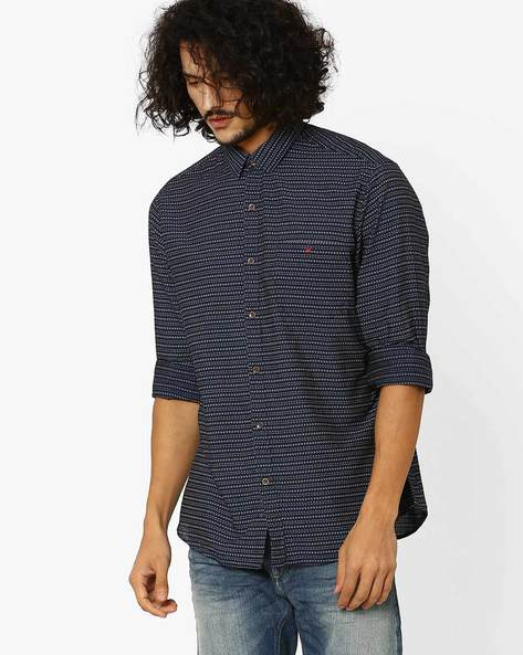 Jay Sports Slim Fit Shirt By Wills Lifestyle ( Blue )