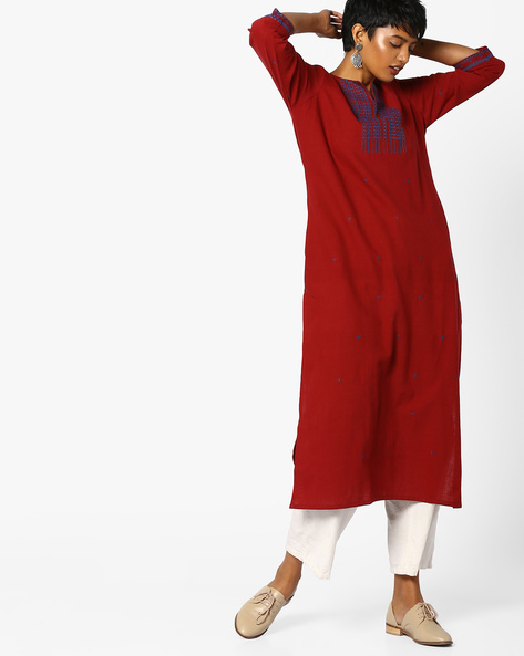 Embroidered Straight Kurta By PE IW Evening ( Maroon )
