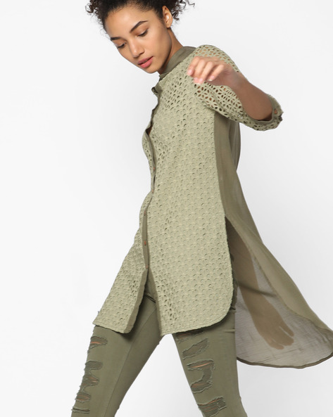 Shirt Tunic With High-Low Hemline By Rena Love ( Olive )