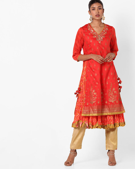 Printed Layered Kurta With Side Tie-Ups By Biba ( Orange )