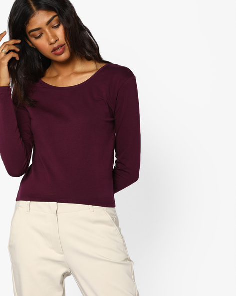 Knitted Top With Criss-Cross Back By AJIO ( Burgundy )