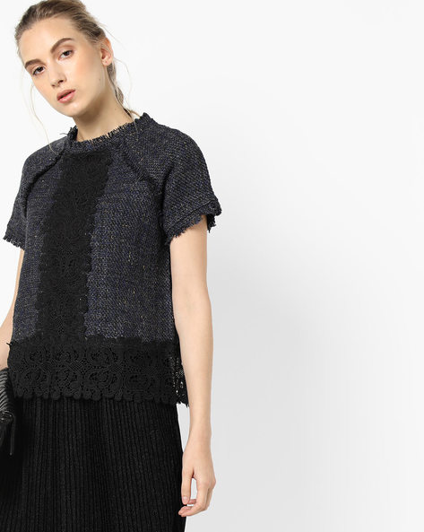 Raw-Edge Top With Lace By Project Eve WW Evening ( Blue )