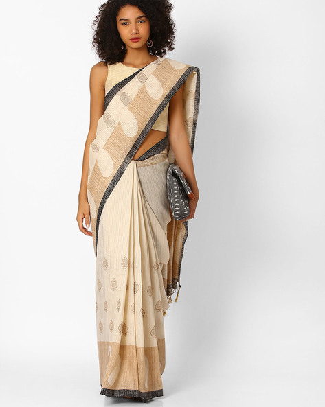 Printed Saree With Contrast Border By Amori ( Beige ) - 460057283001