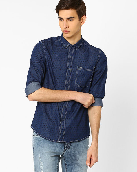 Floral Printed Slim Fit Shirt By Lee ( Indigo )