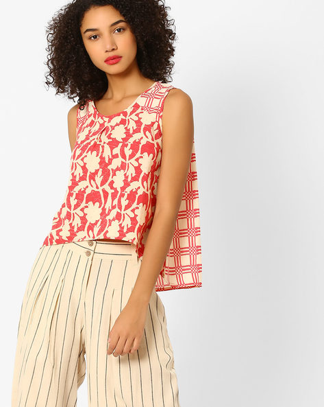 Printed High-Low Top By AJIO ( Coral )