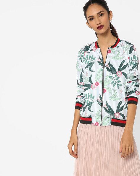 Floral Print Jacket With Raglan Sleeves By AJIO ( Blue )