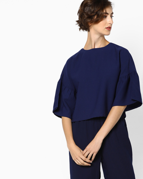 Short Top With Split Bell Sleeves By AJIO ( Navyblue )