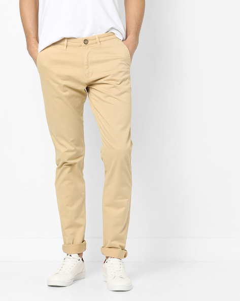 Slim Fit Flat-Front Trousers By SPYKAR ( Beige )