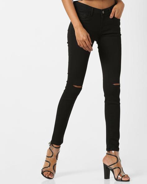 Skinny Fit Distressed Jeans By Tokyo Talkies ( Black )