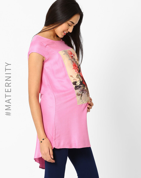 Digital Print High-Low Maternity Tunic By AJIO ( Mauve )