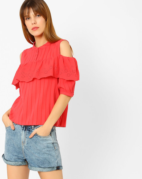 Cold-Shoulder Top With Eyelets By Only ( Pink )