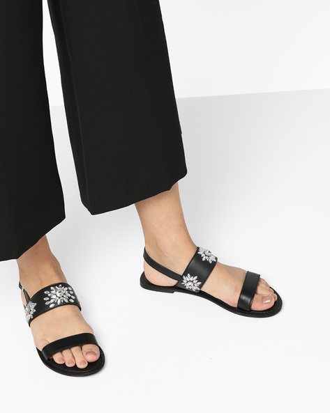 Genuine Leather Embellished Sandals By THEEA ( Black )