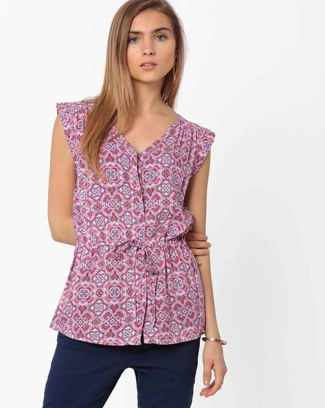 V-Neck Shirt With Cap Sleeves By AJIO ( Lightpink )