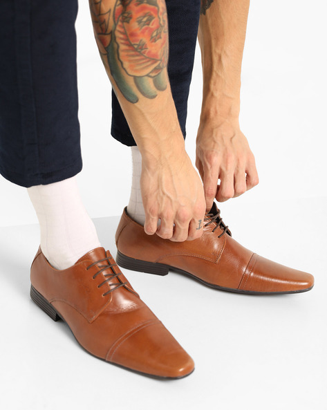 Genuine Leather Toe-Cap Derby Shoes By RED TAPE ( Tan )