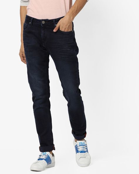 Lightly Washed Slim Fit Jeans With Whiskers By Killer ( Indigo )