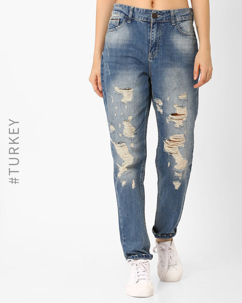 Heavily Distressed Jeans By TIFFANY & TOMATO ( Blue ) - 460040659001