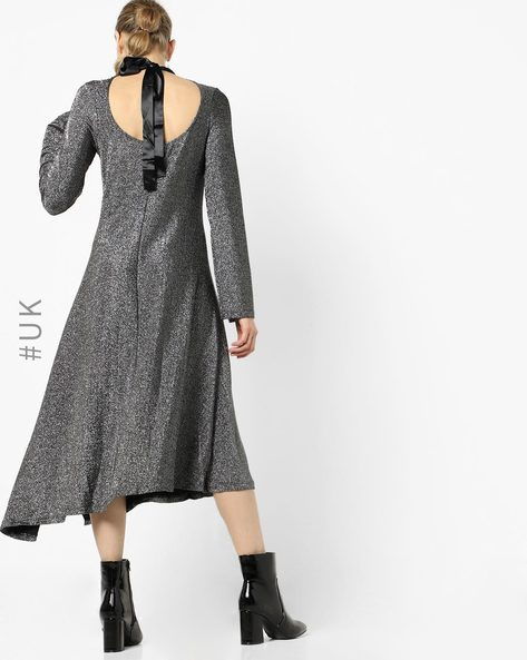 Shimmery A-line Dress With Back Tie-Up By OEUVRE ( Grey )