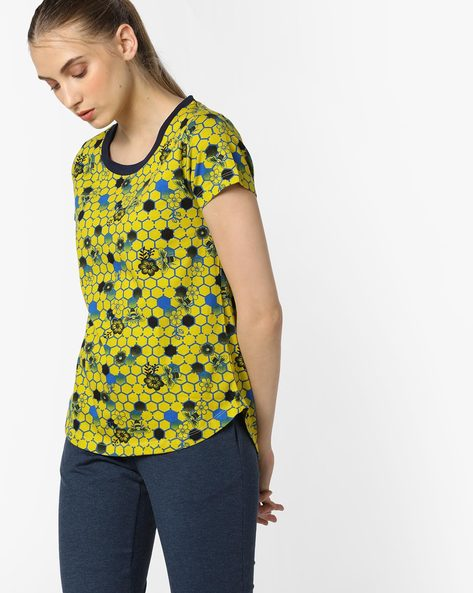 Printed T-shirt With Curved Hemline By Mystere Paris ( Blue )