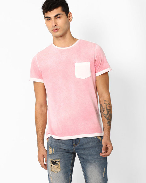 Vintage Washed T-shirt With Patch Pocket By AJIO ( Pink )