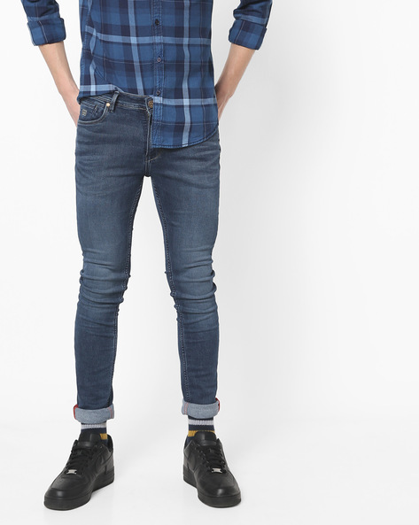 Lightly Washed Skinny Fit Jeans By Killer ( Indigo )