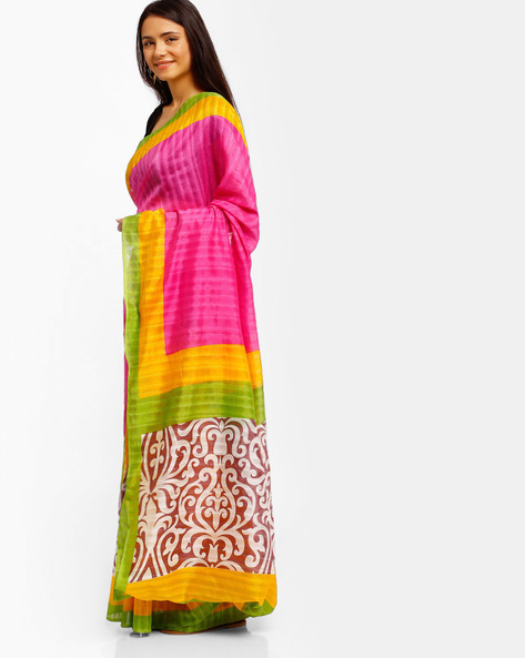 Printed Bhagalpuri Art Silk Saree By Lookslady ( Pink )