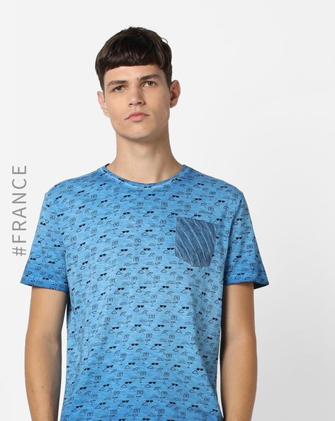 Printed Crew-Neck T-shirt With Washed Effect By Kaporal ( Electric )