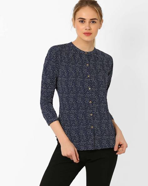 Printed Shirt By Annabelle By Pantaloons ( Navyblue )