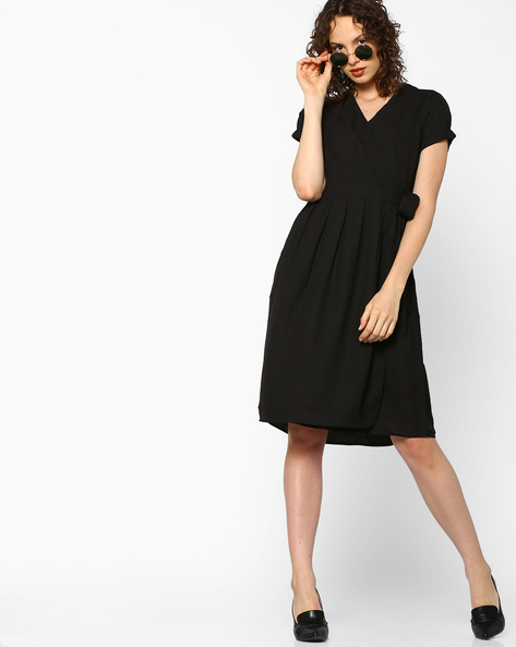 Wrap Dress With Upturned Sleeve Hems By PE WW Work ( Black )