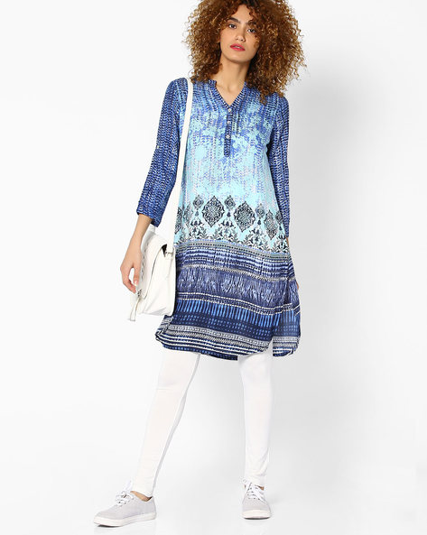 Printed Tunic With Button Placket By Global Desi ( Blue )