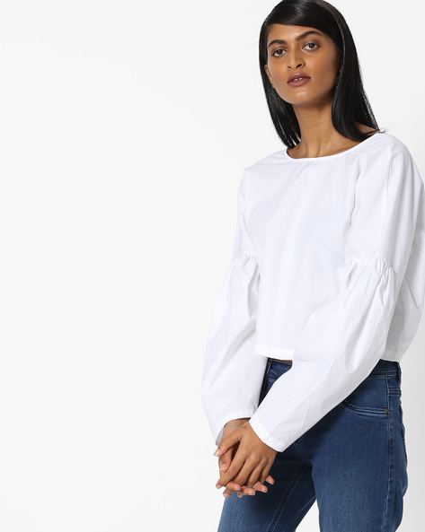 Boxy Top With Drop-Shoulder Sleeves By AJIO ( White )