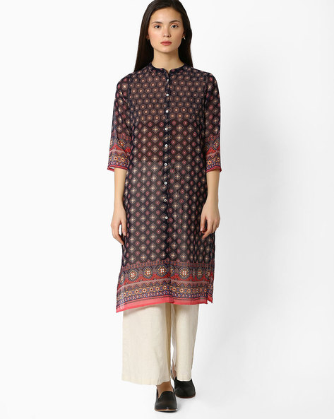 Printed Kurta With Button Placket By AVAASA MIX N' MATCH ( Navy )