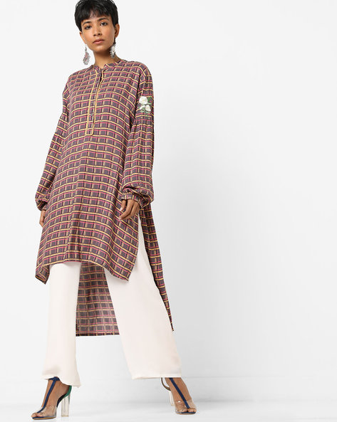 Checked High-Low Kurta With Embroidery By AJIO ( Grey )