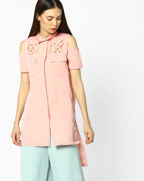 Cold-Shoulder Shirt With Laser Cutouts By AJIO ( Pink )