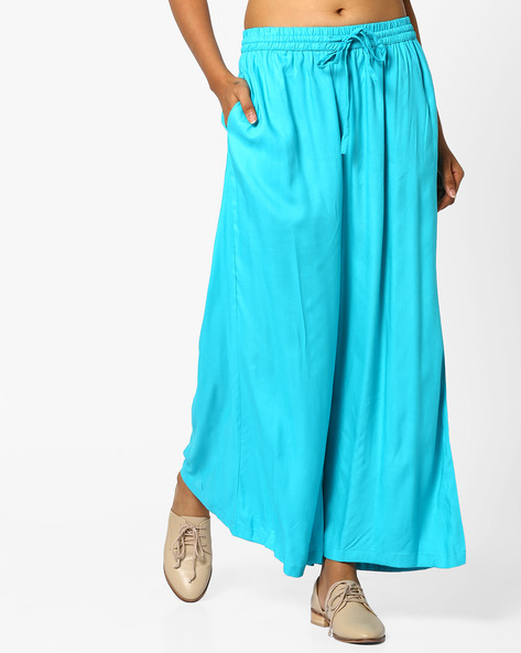 Mid-Rise Palazzos With Drawstring Waist By Project Eve IW Casual ( Turq )