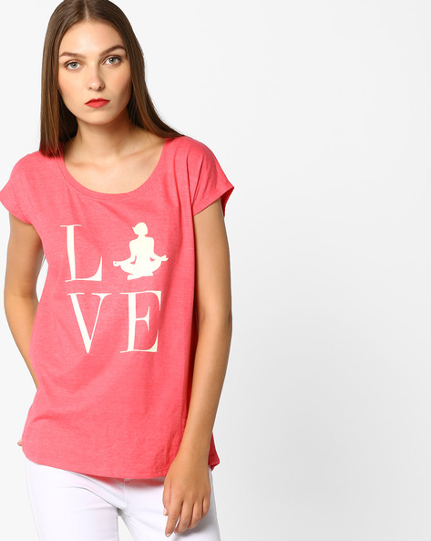 Graphic Print Top With Curved Hem By KAPPA ( Coral )