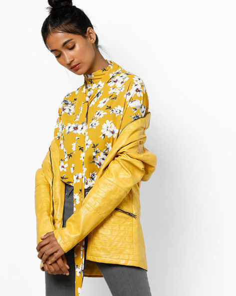 Floral Printed High-Neck Top By Tokyo Talkies ( Yellow )