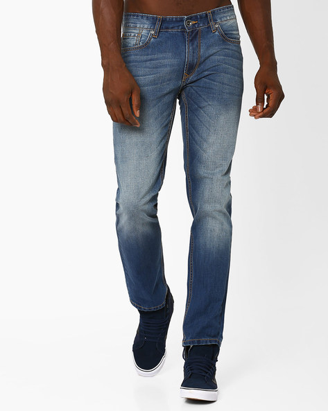 Mid-Wash Slim Straight Fit Jeans By AJIO ( Blue )