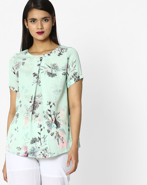 All-Over Floral Print Top By Project Eve WW Casual ( Green )