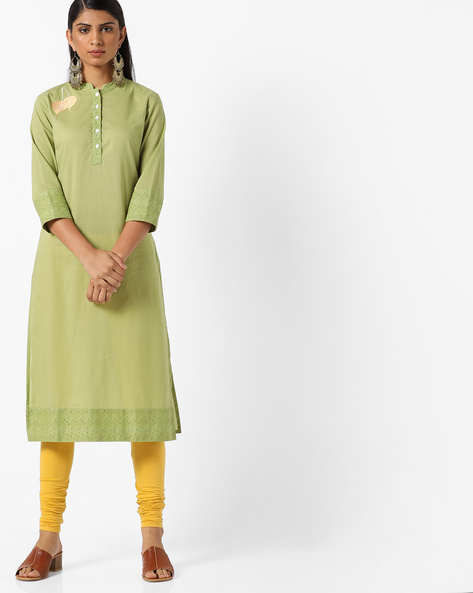 Slim Fit Embroidered Kurta By AJIO ( Olive )