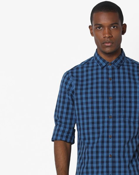 Checked Shirt With Patch Pocket By AJIO ( Blue ) - 460116737007