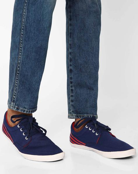 Slim Canvas Sneakers With Contrast Detail By Muddman ( Navy )
