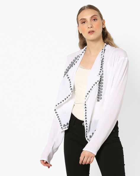 Printed Open-Front Shrug With Asymmetric Hemline By RIO ( White )